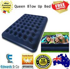 Blow Up Bed Queen Inflatable Mattress Indoor Outdoor Flocked Surface Bag Navy