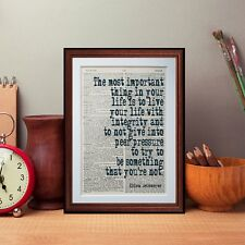 Ellen DeGeneres quote dictionary page art print books literary gift