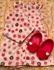 """For American Girl or 18"""" PINK FLOWER DRESS & SCARF + PINK SHOES"""