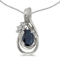 "14k White Gold Oval Sapphire And Diamond Teardrop Pendant with 18"" Chain"