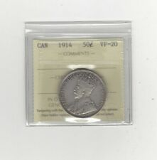 1914  ICCS Graded Canadian Silver 50 Cent, **VF-20**