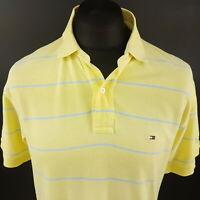 Tommy Hilfiger Mens Polo Shirt MEDIUM Short Sleeve Yellow Regular Striped Cotton