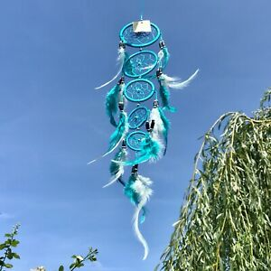 New Long Thin Style Blue Feather Dream Catcher Native American Hanging Mobile