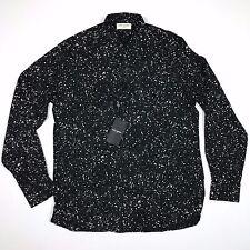 NWT Saint Laurent Paris SS15 Black Paint Splatter Viscore Shirt sz 38
