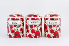 POPPY TEA COFFEE SUGAR CANISTERS / JARS FINE BONE CHINA