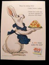 1954 Jell-O Gelatin Rabbit Cartoon Vintage Cartoon Art Promo Trade Print AD