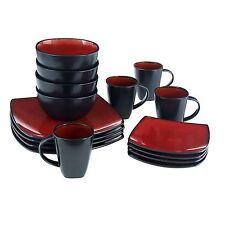 Square Dinnerware Set 16 Piece Plates Bowls Cups Kitchen Ceramic Stoneware Dish