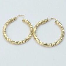 """New 18k Yellow Gold 1-1/4"""" Round Twist Hoop Earrings Sleeper Style 4.9gr"""