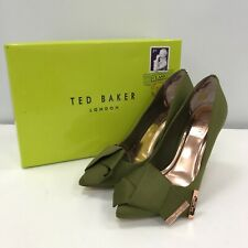 Ted Baker Satin 'IInesi' Stiletto Heel Bow Court Shoe UK 5 Green Occasion 291953