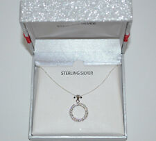 """Sterling Silver Clear Crystal Eternity Circle Pendant Necklace 17"""" Gift Box"""