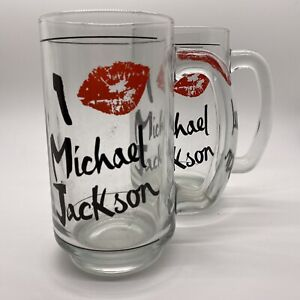 Michael Jackson Set Of Two Vintage I Love Michael Jackson Glass Mugs