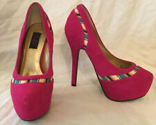 LOKI womens shoes HOT PINK with 'ribbon' detail size 6