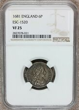 1681 Great Britain England 6 Six Pence Silver Coin NGC VF 25 - KM# 441 ESC-1520
