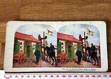 #40 Chinese Pawn Shop in Dalny Antique 1905 INGERSOLL Colour Stereoview