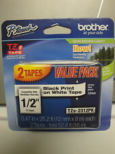 "2 BROTHER TZe-231 12mm 1/2"" LABEL CASSETTE  BLACK PRINT WHITE TAPE ORIGINAL OEM"