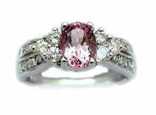 STUNNING 2.25CT G PINK OVAL TOURMALINE DIAMOND ENGAGEMENT RING 18K WHITE GOLD!