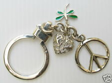 Auth 925 Sterling Silver Key Chain Keychain Peace Heart