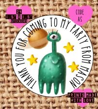 Space party bag stickers , personalised , sweet cone labels , alien AS