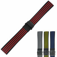 18 20 22 24MM Silicone Rubber Watch Strap Band Deployment Buckle Waterproof
