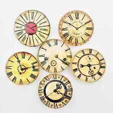 Set of 6 Glass Antique Looking Clock Face Magnets - Refrigerator