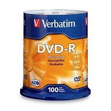 Genuine Verbatim Branded DVD-R 4.7GB 100Pk Disc Spindle 16x PN:95102