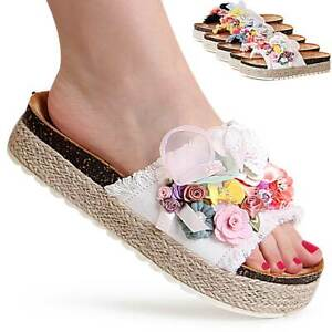 Damen Plateau Sandalen Pantoletten Blume Sandaletten Mules Hausschuhe