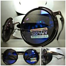 VINTAGE RETRO STEAMPUNK CYBER Round BLINDER Style SUN GLASSES Blue Mirrored Lens