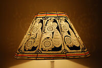 Vintage style Floor Lampshade / Hand Painted Leather Lamp shade / Floor Lamp