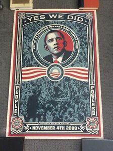 """Shepard Fairey 2008 Original Vintage Poster """"Yes We Did"""" Barack Obama"""