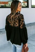 Black Woven Sheer Embroidered Lace Insert V Neck Button Front Top MEDIUM 8-10