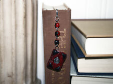Leaf Bookmark Polymer Clay MiniBook Red and Black Ancient Journal with Swarovski