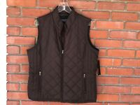 Relativity Outerwear Women's Lined Brown Quilted Puffer Zip Vest Size XL NWT $44