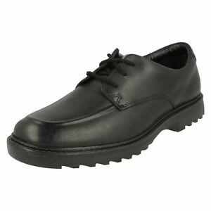 Ragazzi Clarks Nero Leather con Lacci Scuola Formale Scarpe ASHER GROVE
