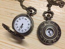 Reloj de Cuarzo Zodiaco Chino Gran Bronce y collar cadena, Buena Suerte Regalo de Cumpleaños