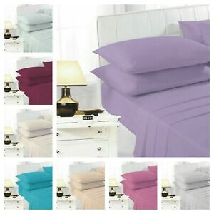 Percale Polycotton Fitted Bed Sheet 100% Poly Cotton Plain Dyed S/ 4FT/ D/ K/ SK