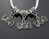 100pcs Tibetan Silver USA Dangle Charms Beads Fit European Bracelet ZY75
