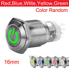 16mm DC 12V Car LED Power Push Button Metal ON/OFF Switch Latching Waterproof