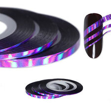3Pcs Rolls Nail Striping Tape Aurora Rainbow Line Adhesive Stickers Tips Purple