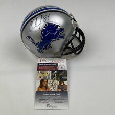 Autographed/Signed CALVIN JOHNSON Detroit Lions Mini Football Helmet JSA COA