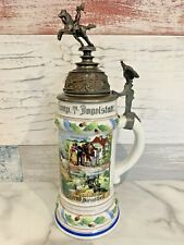 Bavarian Regimental Lidded Beer Stein c1900-1914 Lithopane Train Bataillon