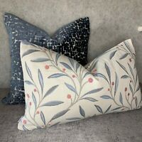 """John Lewis """"GUELDER"""" Berry Fabric & Cushion Cover 12""""x20"""" Floral & Blue"""