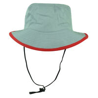 Fisherman Sun Bucket Crusher Hat Grey Red Brim Outdoors Camping One Size Hunting
