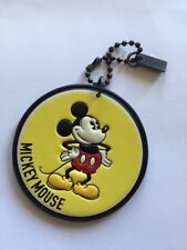 New Coach X Disney Yellow Round Mickey Mouse Leather Hangtag Bag Charm - Limited