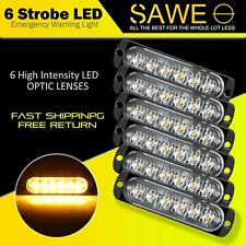 6 x Amber 6 LED Car Truck Emergency Beacon Warning Hazard Flash Strobe Light