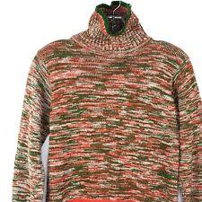 Vintage Womens M Turtleneck Banded Orange Green Sweater Streetwear 80s Band Grun