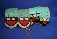 """TWO PAIRS of Early 20th c. Hopi Painted Arm Bands Early Pigments on Hide 5"""" x 4"""""""
