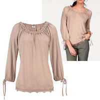 sehr hübsches Shirt Carmen Gr.44/46 luftig Bluse TOP Tunika Rose Edel Oberteil