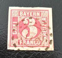 Bayern Schöne 3 Kreuzer rot Mi.-Nr. 9b, alls. breitrandig, oMR 178 Hammelburg U