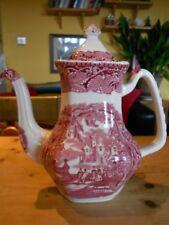 "Vintage Mason's Patent Ironstone Red Vista Coffee Pot 10"" high"
