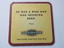 """Breweriana Beer Coaster: ROCK BOTTOM """"He Was A Wise Man Who Invented Beer"""" PLATO"""